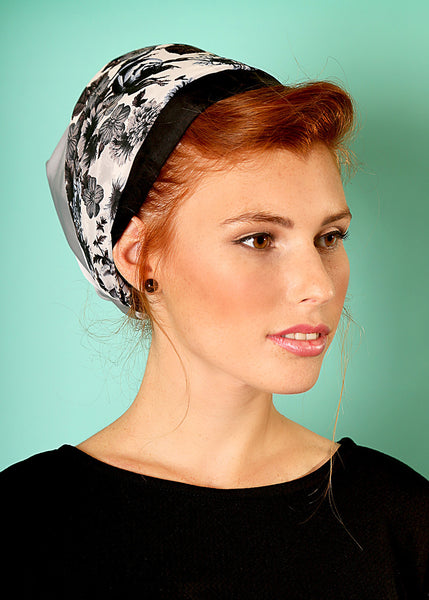 Gray head scarf with flowers