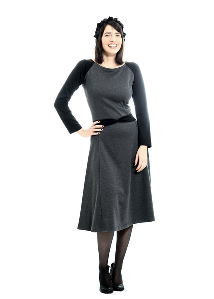 Grey Jersey dress with Black sleeves