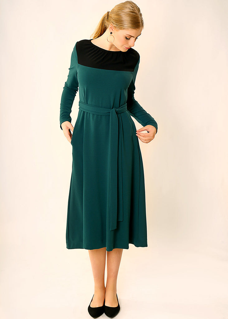 Dark Green midi dress
