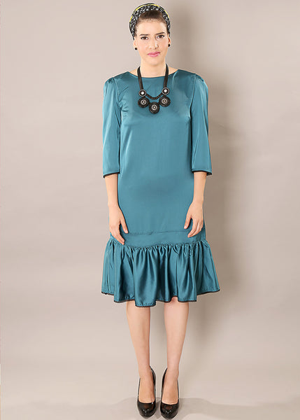 Green classic A - line dress in satin