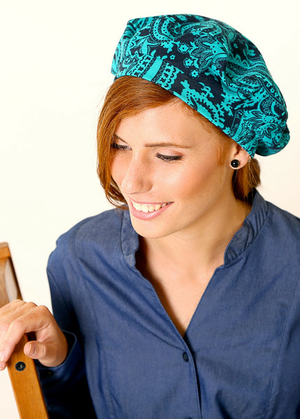 Blue and Green Jersey beret hat