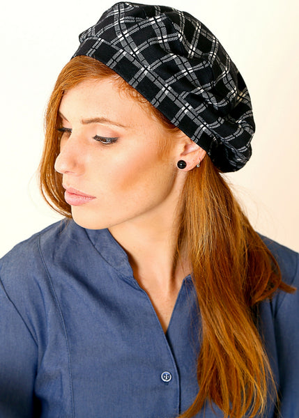 Black Beret hat made of Jersey