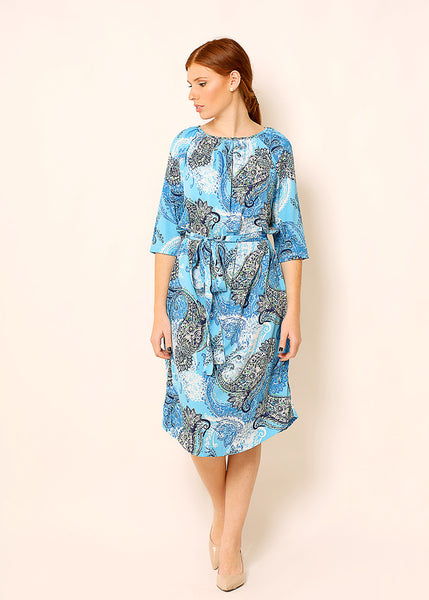 Light blue midi dress in paisley print