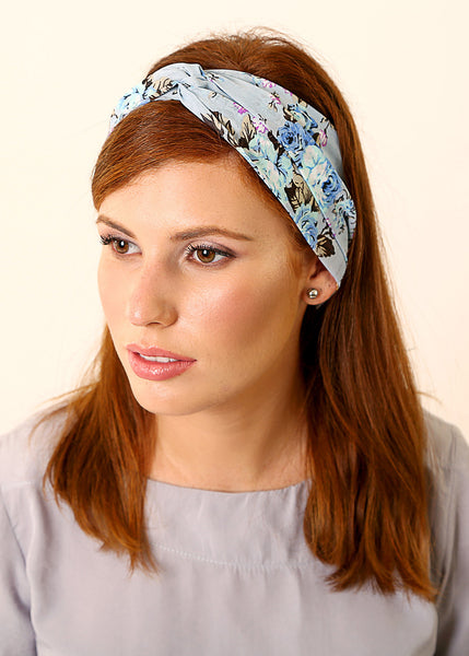 Light blue floral headband