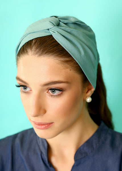 Mint Chiffon headband with dots