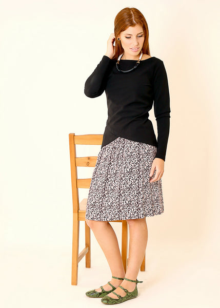 Midi skirt with leopards print