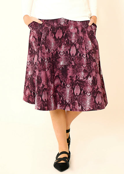 Purple  midi skirt, in snake skin print