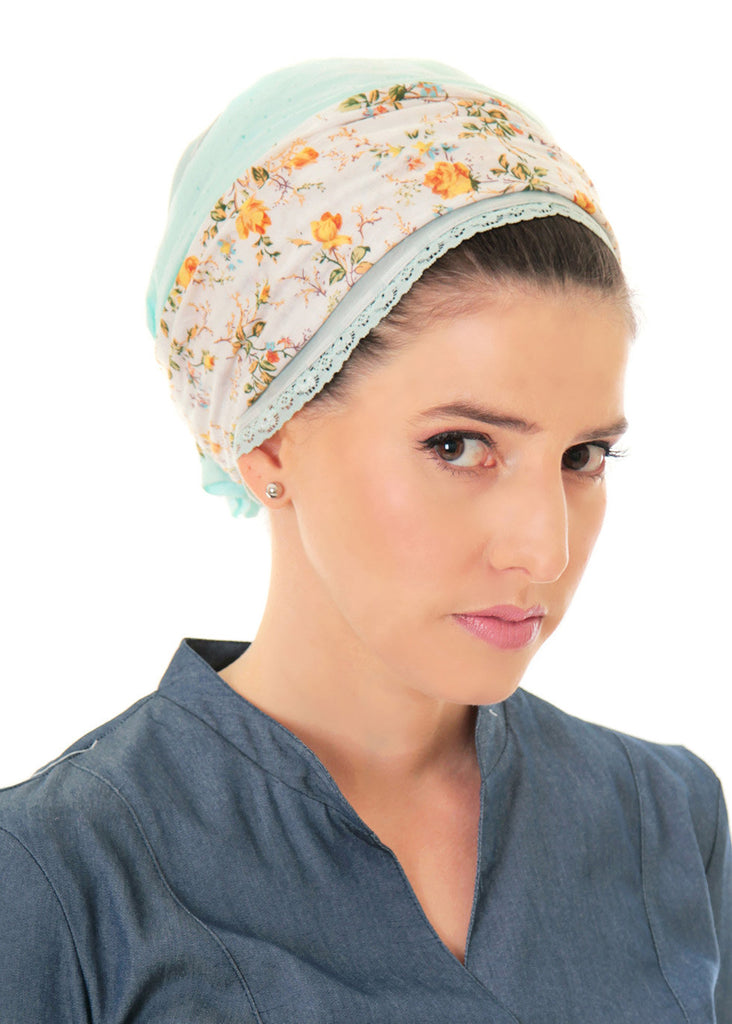 Mint head scarf with floral print