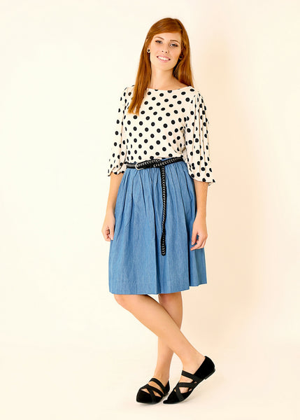 Beige shirt in Polka dots