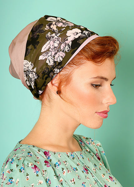 Pink head scarf with floral print