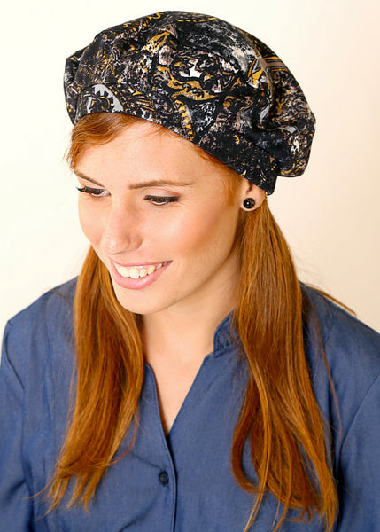 Black jersey Beret hat, with print.
