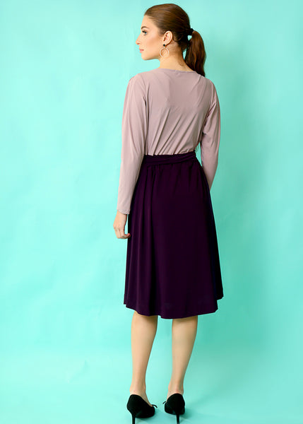 Purple midi dress with belt