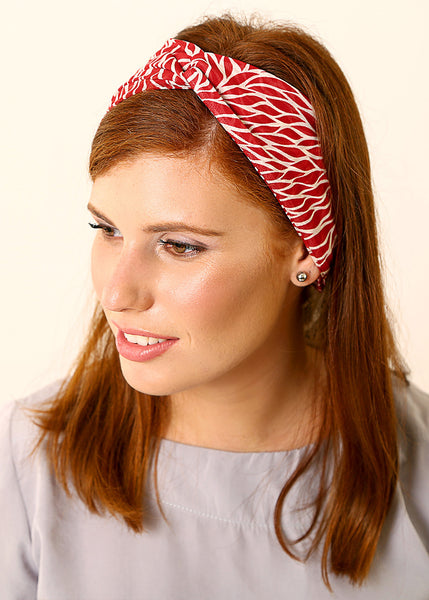 Red headband made of Chiffon