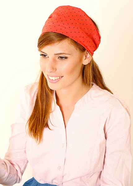 Red bandanna with small dots