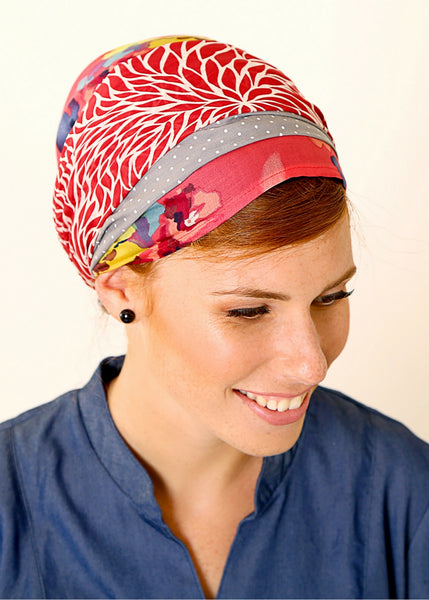 Red head scarf with flowers and dots