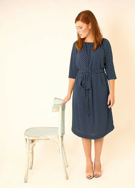 Blue printed midi dress with belt