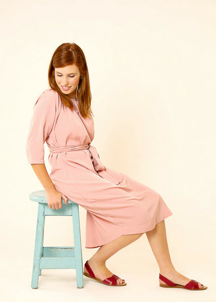 Pink midi dress with belt