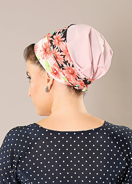 Pink floral head wrap