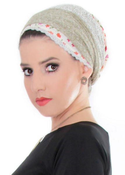 Copy of Black head scarf with dots and lace