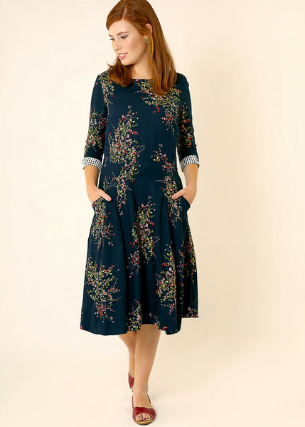 Dark Blue floral midi dress