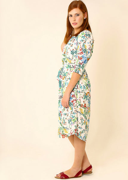 White floral midi dress with belt