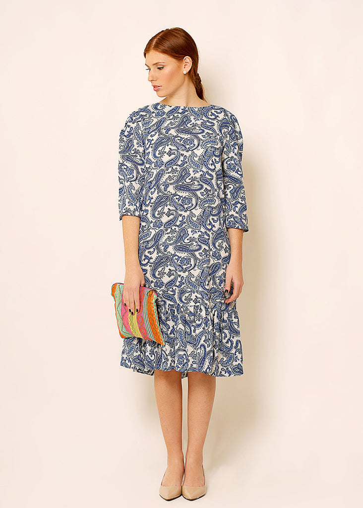 White  A - line dress in paisley print