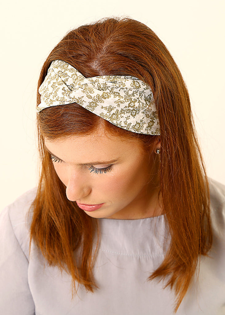 White headband with flowers