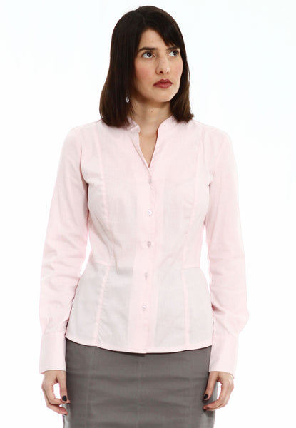 Buttoned shirt with Pink pin stripes