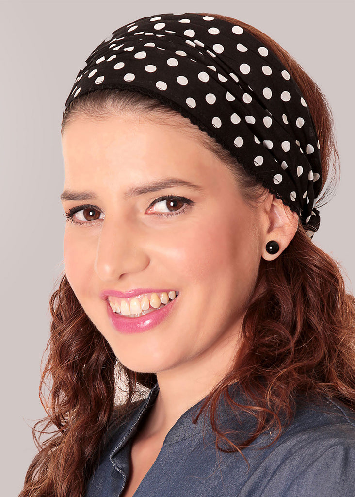 Black bandanna headband with polka dots print