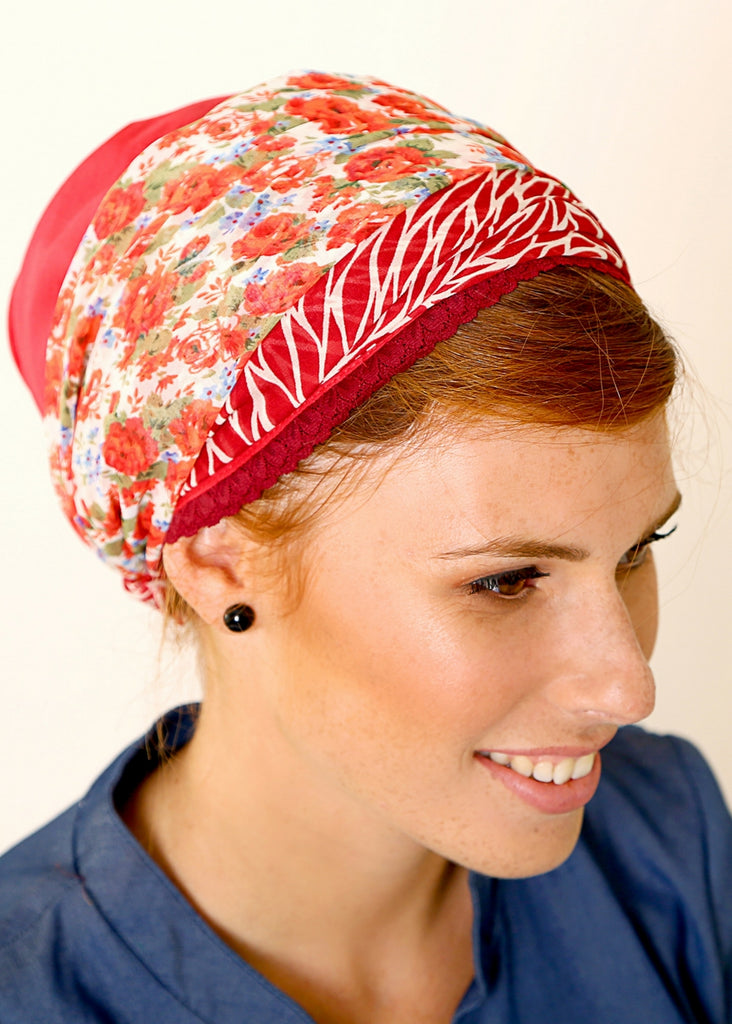 Red head scarf with floral print