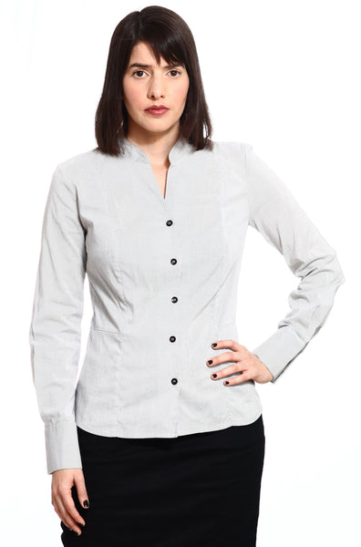 Buttoned shirt with Gray pin stripes