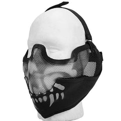 Black Skull Full Face Mesh Mask (MESHMASKF) / Mask - Totowa Airsoft