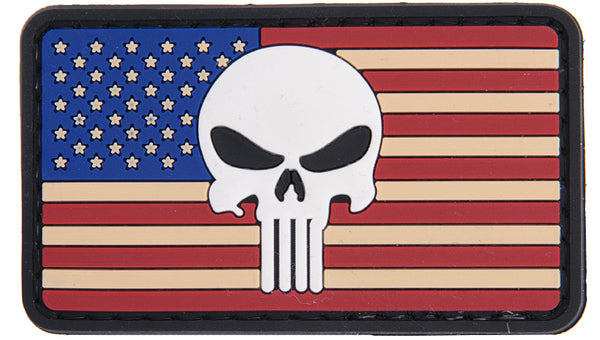US Punisher Skull Flag Patch (PATCH040A) / Morale Patch - Totowa Airsoft