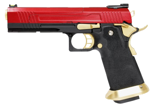Hi-Capa Gold/Red 1911 Pistol by Armorer Works Custom (ASPG176) / Green Gas Airsoft Pistol - Totowa Airsoft