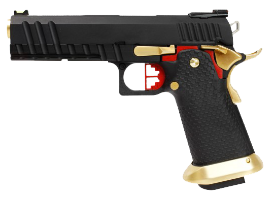 Hi-Capa Red/Gold/Black 1911 Pistol by Armorer Works Custom (ASPG178) / Green Gas Airsoft Pistol - Totowa Airsoft