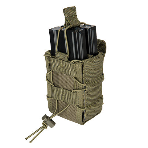 Double Bungee Quick Draw MOLLE Pouch OD (M4DMP) / Airsoft Rifle Magazine Pouch - Totowa Airsoft