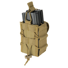 Double Bungee Quick Draw MOLLE Pouch Tan (M4DMP) / Airsoft Rifle Magazine Pouch - Totowa Airsoft