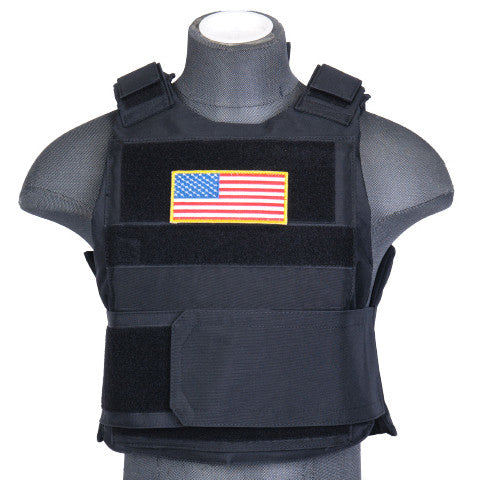 Black Body Armor Vest (BAV) / Tactical Vest - Totowa Airsoft