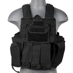 Black Deluxe Strike Plate Carrier Vest (VESTDLXSPB) / Tactical Vest - Totowa Airsoft