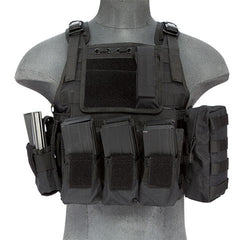 Black Tactical Assault Plate Carrier Vest (TAC2VEST) / Tactical Vest - Totowa Airsoft