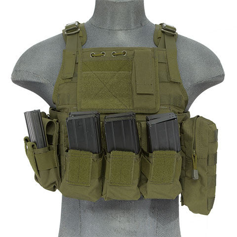 OD Tactical Assault Plate Carrier Vest (TAC2VEST) / Tactical Vest - Totowa Airsoft