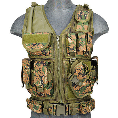 Woodland Digital G2 Cross Draw Tactical Vest (TACVEST1) / Tactical Vest - Totowa Airsoft