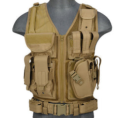 Khaki G2 Cross Draw Tactical Vest (TACVEST1) / Tactical Vest - Totowa Airsoft