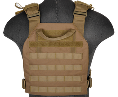 Khaki Lightweight Plate Carrier Vest (LWPC) / Tactical Vest - Totowa Airsoft
