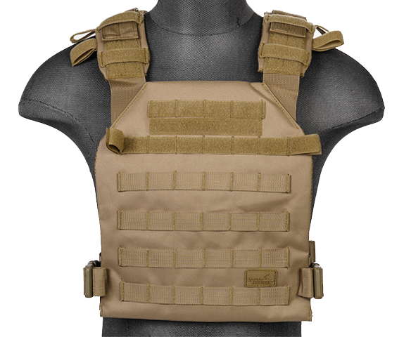 Tan Lightweight Plate Carrier Vest (LWPC) / Tactical Vest - Totowa Airsoft