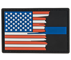 G-Force Subdued Tattered US Flag Thin Blue Line Patch (PATCH159) / Morale Patch - Totowa Airsoft
