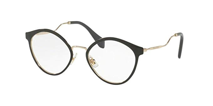 Miu Miu MU 52QV 1AB1O1 Shiny Black Gold Grey / Demo Lens 52mm Eyeglasses