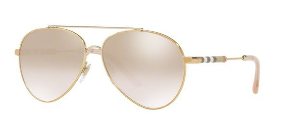 Burberry BE3092Q 11457I Light Gold / Brown Mirror Gradient Gold 57mm Sunglasses