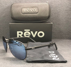 REVO SHAW RE 5021 01 BL Matte Black / Blue Water Mirror Polarized 61mm Sunglass
