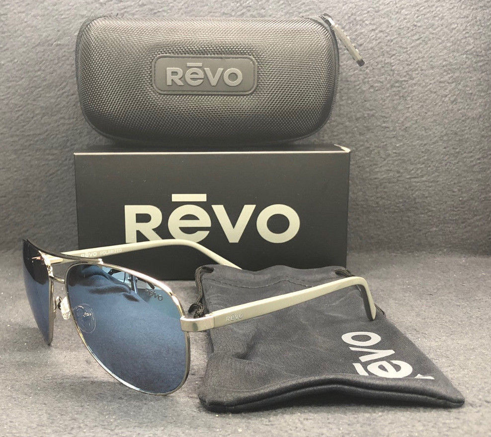 REVO Shaw RE5021 03 BL Chrome Grey / Blue Water Mirror Polarized 61mm Sunglasses